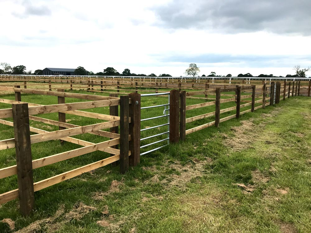 Equestrian Fencing: Photograph of horse pen compound at side of race training track near York